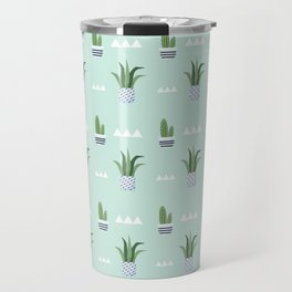 Modern teal green white triangles cactus floral pattern Travel Mug