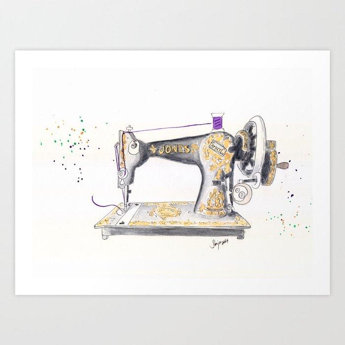 Vintage Jones Handcrank Sewing Machine Art Print By Artisania Society40 Delectable Vintage Hand Crank Sewing Machine