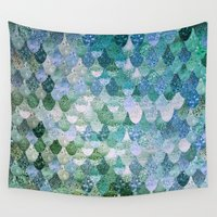 bianca green Wall Tapestries featuring REALLY MERMAID by Monika Strigel