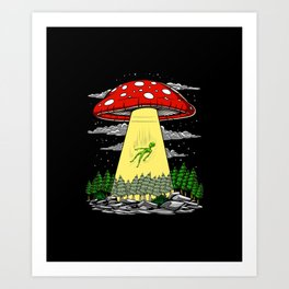 Alien Abduction Magic Mushrooms Psychedelic UFO Art Print