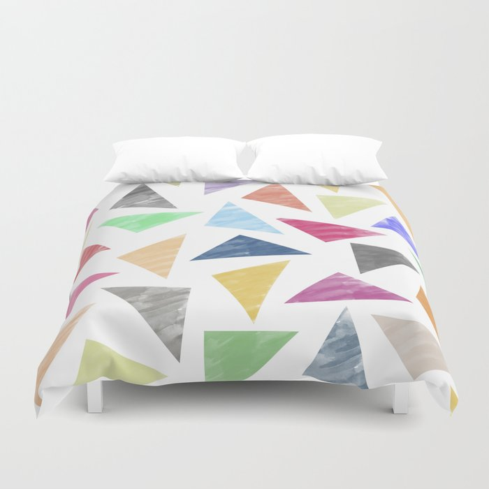Colorful Geometric Pattern Duvet Cover By Uniqued Society6