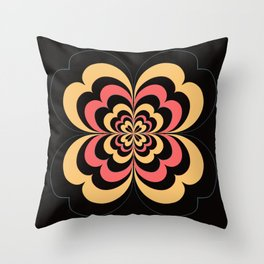 Groovy Flower In Yellow and Coral on Black Throw Pillow