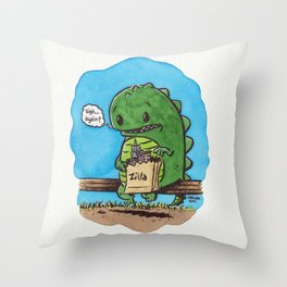 """lunch in the city"" Throw Pillow"