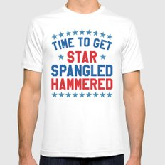 Time to Get Star Spangled Hammered - 4th of July White X-LARGE Mens Fitted Tee