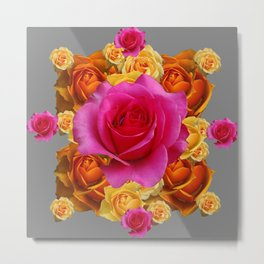 OLD GOLD-YELLOW & PINK ROSES ON GREY Metal Print