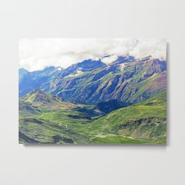 Panoramic view of the mountain range and valleys of Monte Rosa Metal Print
