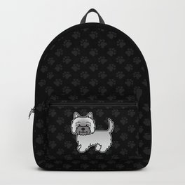Cute Gray Cairn Terrier Dog Cartoon Illustration Backpack