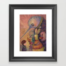 One spring day, while chasing butterflies Framed Art Print