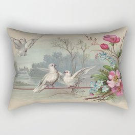 Vintage White Forest Birds Rectangular Pillow