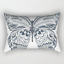 Blue Butterfly Mandala Rectangular Pillow
