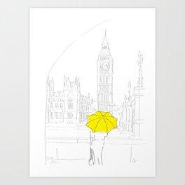 Yellow Umbrella Travel Girl in London Art Print