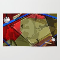 baseball Area & Throw Rugs featuring Baseball by Robin Curtiss
