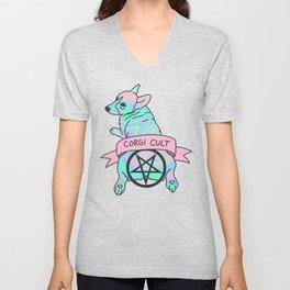 Corgi Cult Witchy 90s Hologram dog print Unisex V-Neck