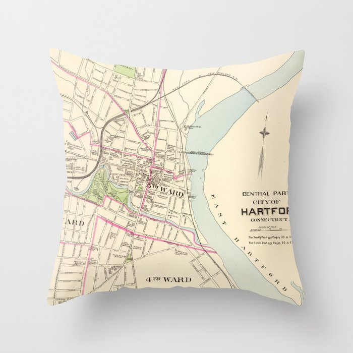 Vintage Map of Hartford Connecticut (1893) Throw Pillow by bravuramedia
