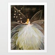 Golden Butterfly Fairy Art Print