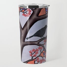 spring crows in the stained glass tree Travel Mug
