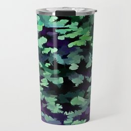 Foliage Abstract Pop Art In Jade Green and Purple Travel Mug