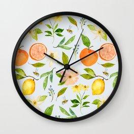 LOVELY LEMONS IN BLUE Wall Clock