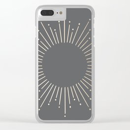 Simply Sunburst in White Gold Sands on Storm Gray Clear iPhone Case