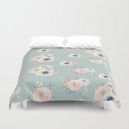 Dog Rose Pattern Mint Duvet Cover