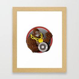 Angry gorilla with dumbbell  Framed Art Print