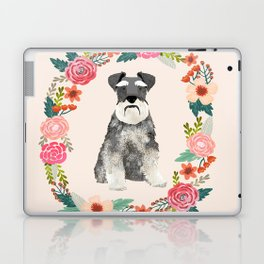 schnauzer floral wreath dog breed pet portrait dog mom Laptop & iPad Skin