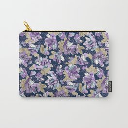 Amethyst Crystal Clusters / Violet, Blue and Gold Carry-All Pouch