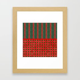 Christmas Red and Green Woven Stripes and Dots Framed Art Print
