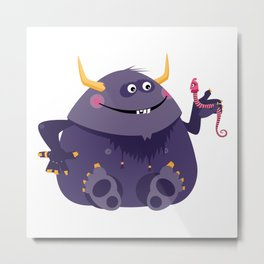 Big purple monster and his little friend Metal Print