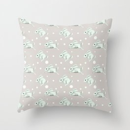 Cute white rabbit runs away Throw Pillow