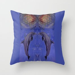dolphin with flower of life Throw Pillow