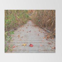 Autumn Marsh Boardwalk Throw Blanket