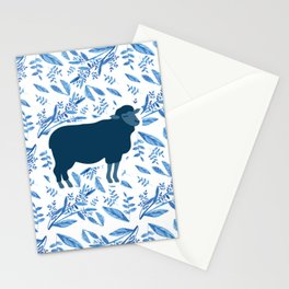 Sheep on floral pattern Stationery Cards