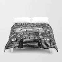 cabin Duvet Covers featuring Lost cabin 666 by Marcelo Romero