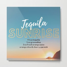 Classic Cocktails: Tequila Sunrise Recipe Metal Print