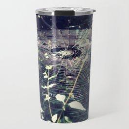 Spider web forest light Travel Mug