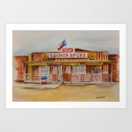 The Broken Spoke - Austin's Legendary Honky-Tonk Watercolor Painting Art Print