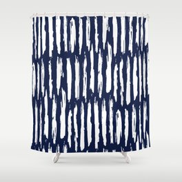 Vertical Dash White On Navy Blue Paint Stripes Shower Curtain