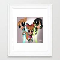 powerpuff girls Framed Art Prints featuring Powerpuff Girls by A.D.A. Apparel