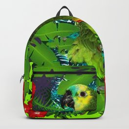 RED HIBISCUS & GREEN PARROT JUNGLE GRAY-GREEN ART Backpack