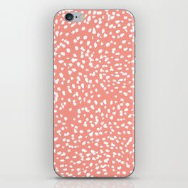 Coral and white minimal painted dots pattern dotty print decor for minimal home office dorm college iPhone Skin