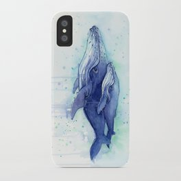 Humpback Whale Watercolor Mom and Baby Painting Whales Sea Creatures iPhone Case