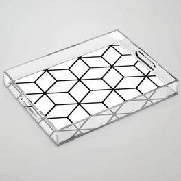 Black and White - Geometric Cube Design I Acrylic Tray