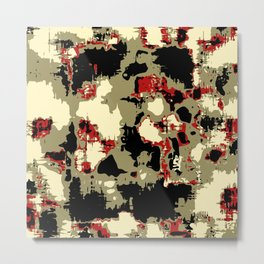 vintage psychedelic geometric painting texture abstract in red brown black Metal Print