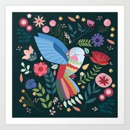 Folk Art Inspired Hummingbird With A Flurry Of Flowers Art Print