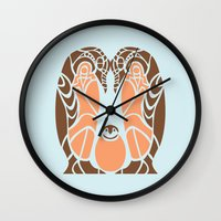 penguins Wall Clocks featuring Penguins by Hinterlund