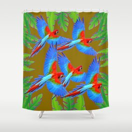 GREEN JUNGLE BLUE MACAW PARROTS Shower Curtain