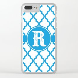 Blue Monogram: Letter R Clear iPhone Case