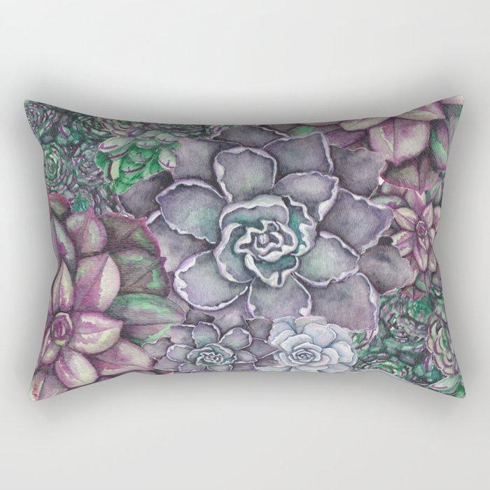 Scattered Succulents Rectangular Pillow