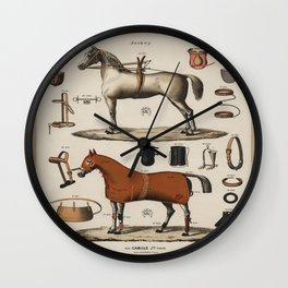 Jockey Horse Equipment Outfit Vintage Scientific Encyclopedia Illustration Wall Clock